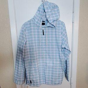 1/4 Zip Madris Plaid Pastel Hooded Jacket